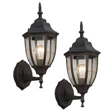 Lowes Outdoor Wall Lights Shop Portfolio 2 Pack 14 In H Rust Outdoor Wall Lights At Lowes