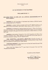 nonworking just in palace declares april 28 2017 as special non working day