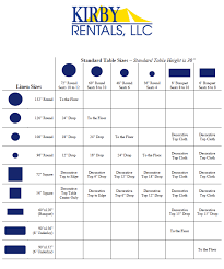 Table Linen Sizes - linen size guide u2013 kirby tent rentals