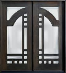 Modern Door Knockers Black Stained Wooden Single Half Glass Modern Front Doors With 5