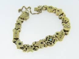 antique charm bracelet charms images Vintage antique slide charm bracelet all genuine stones in 14k jpg