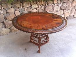 dining table iron base mezquite leather top rustic furniture