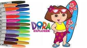 dora the explorer coloring book page how to color hawaiian dora