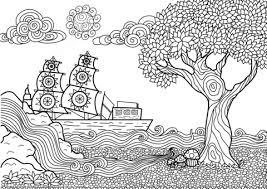 Coloriage  Paysage marin en Zentangle  Coloriages à imprimer gratuits