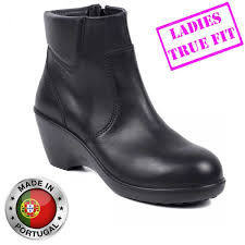 womens work boots uk premium leather chelsea safety boots with side zip