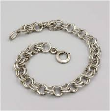 antique charm bracelet images Vintage sterling charm bracelet double chain base jpg