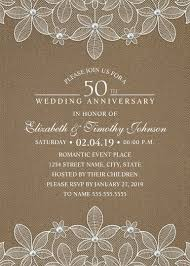 burlap 50th wedding anniversary invitations lace and pearls cards