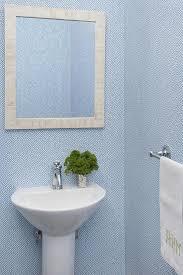 white and blue powder room wallpaper design ideas