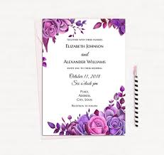 purple wedding invitations purple roses invitation template floral wedding invitation
