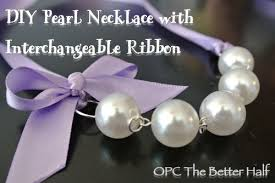 pearl necklace with ribbon images My posh little girls pearl and ribbon necklaces one project closer jpg