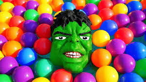 hulk ball pit show for kids w police spiderman joker colors
