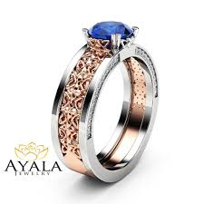 blue sapphire engagement ring 14k two tone gold gemstone ring