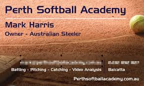 Business Cards Perth Perth Softball Academy Business Card Ordered Perth Softball Academy