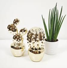 gold decorative cactus ceramic ornament set of 2