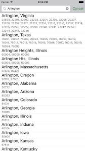zip codes on the app store