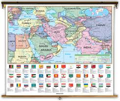 Middle East On Map by Middle East Political Classroom Map On Spring Roller