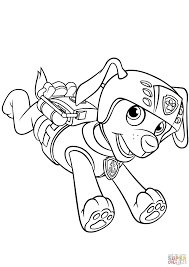 zuma with scuba gear backpack coloring page free printable