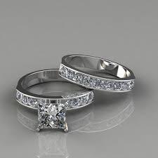 wedding band princess cut engagement ring and wedding band set puregemsjewels
