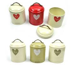 Green Canisters Kitchen by Whitby Retro Vintage Tea Coffee Sugar Red Green Cream Storage Jars