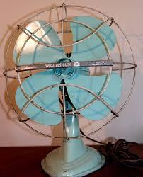 antique westinghouse electric desk fan turquoise blue model a010 1 1940 s runs