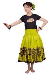 hawaiian pattern skirt hula pa u skirt with hula girl print green g1443 hulaohana