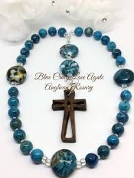 christian rosary protestant prayer anglican rosary pale blue crystals and