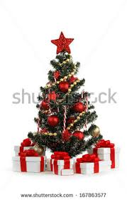 white red christmas tree decorated many stock illustration