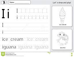 Free Alphabet Tracing Worksheets Cartoon Ice Cream And Iguana Alphabet Tracing Worksheet Writin