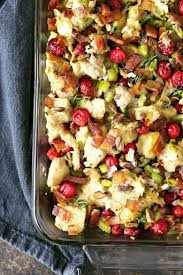 bacon cranberry pistachio dressing thanksgiving side dish