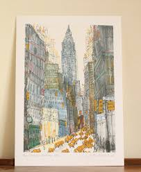 cityscape nyc etsy chrysler building nyc print new york watercolor painting drawing signed giclee print new