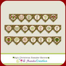 ugly christmas sweater printable party banner 5 00 amanda