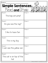 simple sentences read and draw read the simple sentences and