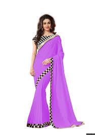 colour purple women chiffon purple colour lace broder work designer saree by kmozi