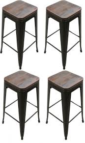 round varnished ebony wood seat for black polished metal bar stool