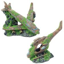 moss covered airplane helicopter wreck aquarium fish tank ornament
