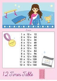 12 times table printable chart u2013 lottie dolls uk store