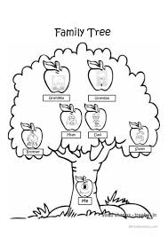 family tree coloring page worksheet free esl projectable