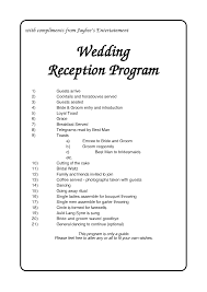 6 best images of reception agenda printable wedding reception