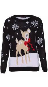 new womens ladies baby deer bambi christmas xmas knitted jumper