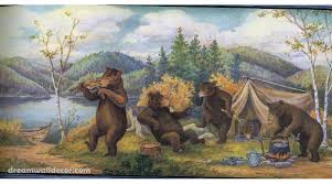 wildlife wallpaper border home blue mountain bears wallpaper