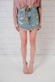 denim skirt skirt distressed fray hem denim skirt bobbles and lace