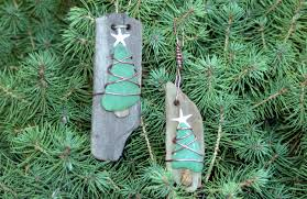 driftwood ornament sea glass ornament tree