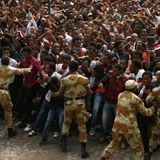 thanksgiving slogans demonstrators chant slogans while flashing the oromo protest