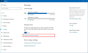how to use storage sense to automatically free disk space in the