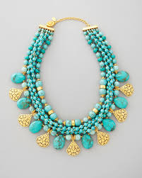turquoise gold necklace images Lyst jose maria barrera multistrand turquoise gold plate jpeg