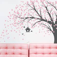 large windy tree with birdhouse wall decal playroom pinterest large windy tree with birdhouse wall decal windy tree nature wall decal living room wall decal tree wall sticker falling leaves