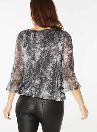 snake print blouse billie blossom silver snake skin print blouse dorothy perkins