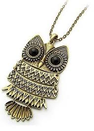 necklace owl images Vintage antique black eye bronze owl retro long necklace jewelry jpg