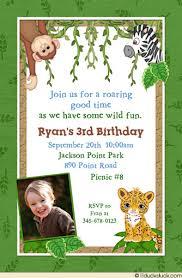 leafy jungle safari birthday invitation monkeys lions