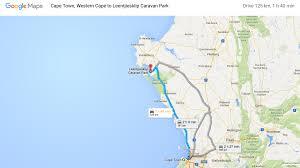leentjiesklip caravan park from cape town google map 001